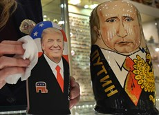 Traditional Russian wooden nesting dolls at a gift shop in Moscow in January.