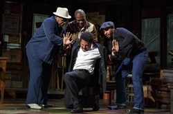 "August Wilson's ""Jitney,"" in its Broadway debut, was voted an Outer Critics Circle Award as the top play revival of the 2016-17 season. The cast includes, from left, Harvy Blanks, Michael Potts, Brandon J. Dirden (kneeling) and Andre Holland."