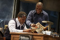 """August Wilson's Jitney"" was nominated for a best revival Tony Award Tuesday, among six nominations that include John Douglas Thompson, left, with co-star Michael Potts."
