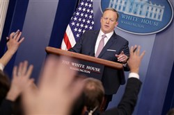 Sean Spicer, the White House press secretary, holds his first daily press briefing in the James Brady press briefing room at the White House on Monday.