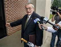 In this July 14, 2015 file photo, former Harrisburg Mayor Stephen Reed arrives for his preliminary arraignment in Lower Paxton, Pa. Jury selection is set to begin todayin the criminal case against Reed, charged with receiving stolen property after spending millions in public funds to buy artifacts for a Wild West museum that was never built.