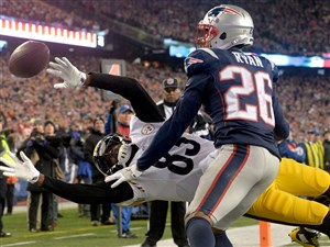 Patriots defensive back Logan Ryan breaks up a pass intended for Steelers receiver Cobi Hamilton in the fourth quarter of the AFC championship Sunday at Gillette Stadium in Foxborough, Mass.