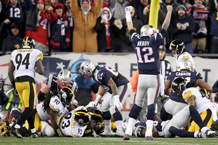 20170122pdSteelersSports10-1 Tom Brady celebrates a touchdown in the third quarter of the AFC championship between the Steelers and New England Patriots on Sunday at Gillette Stadium in Foxborough, Mass.