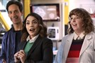 "From left, Danny Pudi as Teddy, Vanessa Hudgens as Emily and Jenni Pierson as Wendy in ""Powerless."""