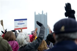 """A """"Tuesdays with Toomey"""" rally on the South Side in January. The events protest the general absence of the Pennsylvania Republican senator since Donald Trump's election."""