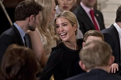 Ivanka Trump, daughter of President Donald Trump, attends a swearing-in ceremony of White House senior staff in the East Room of the White House on Jan. 22, n Washington, D.C. In Japan, Ms. Trump  is seen as the embodiment of feminine perfection -- beautiful, fashionable, married, mother, and able to balance career and family obligations.