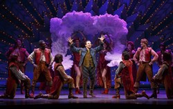 "Rob McClure, center, with his Broadway costars in ""Something Rotten!,"" now on tour and at the Benedum Center."