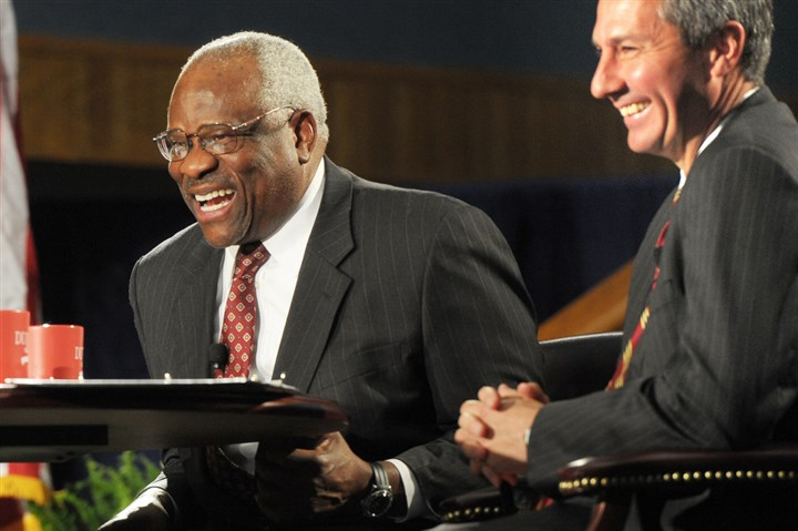 HardimanTrumpCourt.jpg Judge Thomas Hardiman, right, with Supreme Court Justice at an event in 2013 at Duquesne University.