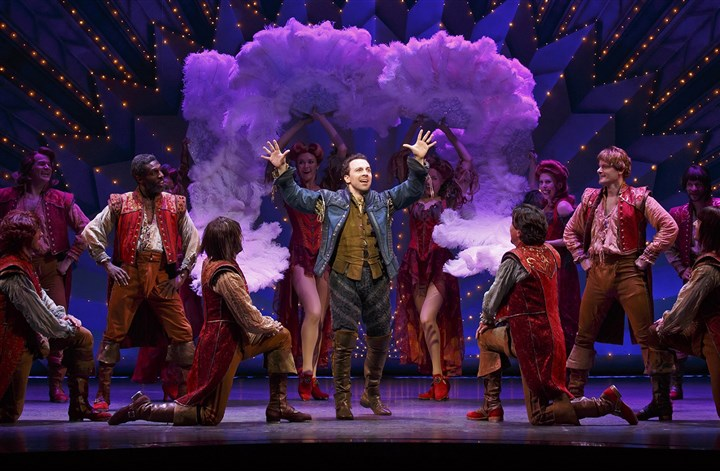 "something rotten 1 Rob McClure, center, with his Broadway costars in ""Something Rotten!,"" now on tour and at the Benedum Center."