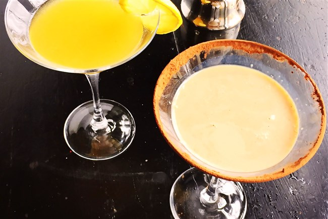 Peach Martini, left, and Boston Cream Pie Martini represent the NFL teams playing in Sunday's Super Bowl.