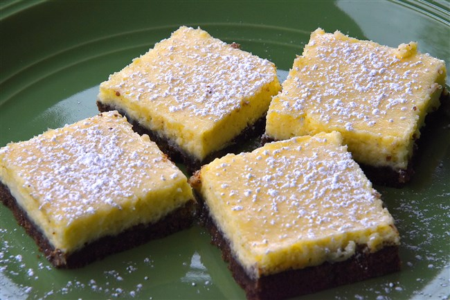 Amp up the flavor of lemon bars and give the crust some chocolate. love. for Arthi Subramaniam story .