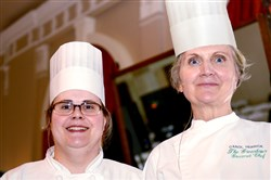 the Greenbrier chefs, Sue Moats, left, and Carol Herrick.