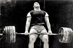 "Robert ""Big Bob"" Weaver started power lifting long before competitors wore special suits. In this undated photo, he wears shorts sewn by his wife, Elaine."