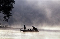 Steam comes off the Allegheny River as fisherman hope for a bite near Sharpsburg.
