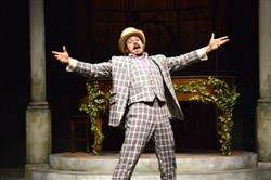 "Mitchell Jarvis as Feste in the Pittsburgh Public Theater production of ""Twelfth Night."""