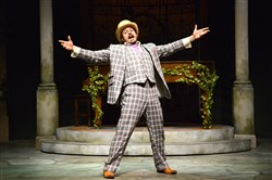 "Mitchell Jarvis as Feste in Pittsburgh Public Theater's ""Twelfth Night."""