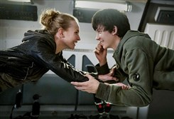 "Britt Robertson and Asa Butterfield in a scene from the movie ""The Space Between Us."""