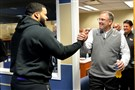 Pitt head coach Pat Narduzzi greets former player Aaron Donald during national signing day Wednesday at Pitt's practice facility. Narduzzi would love to have another Donald-type player in Jaylen Twyman.