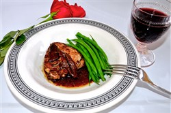 The porcini mushrooms and red wine impart a rich woodsy flavor to the braised chicken.