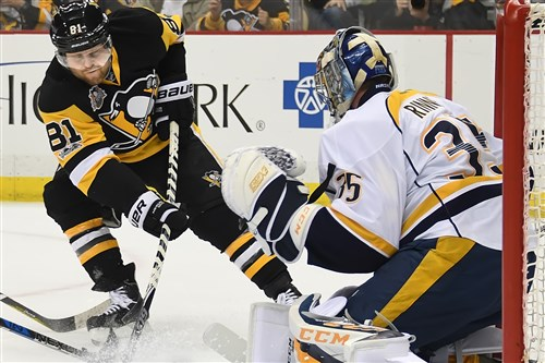 Phil Kessel is stopped by Nashville goalie Pekka Rinne when the two Stanley Cup finalists met on Jan. 31 at PPG Paint Arena.