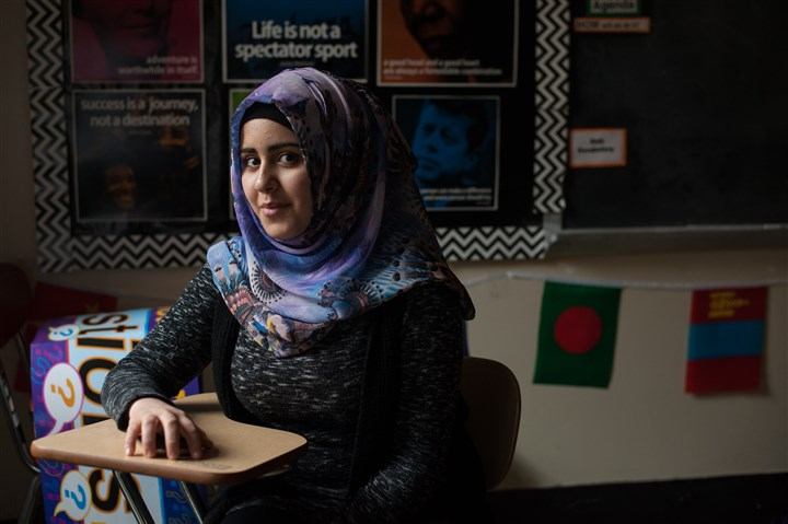 20170131smsGlobalMinds11-10 Pittsburgh Allderdice High School freshman Khawla, 17, of Highland Park, fled Aleppo, Syria, and lived a brief time in Turkey before moving to Squirrel Hill last summer.