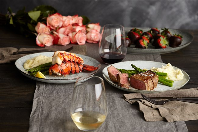 The Fresh Market in Mt. Lebanon offers a take-home Valentine meal package featuring filet mignon and/or lobster tails with sides.
