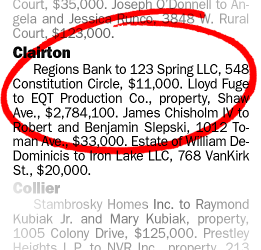 Clairton_realestate_transfer0205 Real Estate transfers from the Post-gazette, Sunday, October 2, 2016, noting Lloyd Fuge's transfer of property to EQT Production Company for $2,784,100.