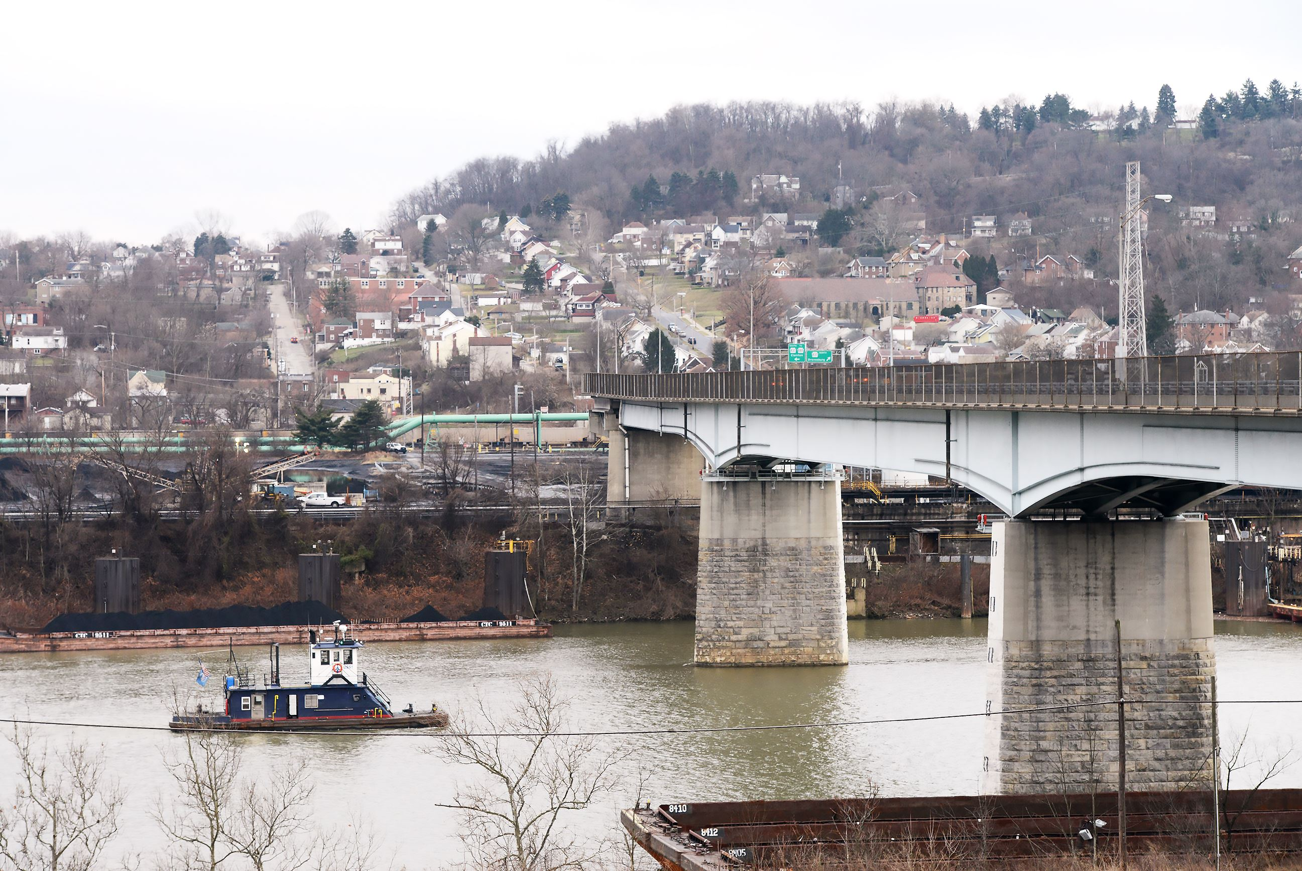 20170201rldClairton001 A view of the Wilson section of Clairton from across the Monongahela River in Glassport.