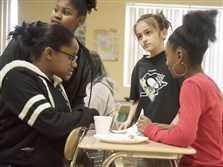 From left, Stephanie Cooper, Zeni Freeman, Danyel Nicholas and Justice Kyles at a brainstorming session on Feb. 3 for an upcoming edition of The Viking Voice produced by 15 sixth-graders at the Sto-Rox Upper Elementary School in McKees Rocks.