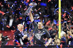 Tom Brady, who on Sunday won his fifth Super Bowl, is certainly used to this scene.