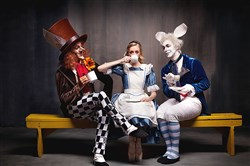 "The Mad Hatter, Alice and  the White Rabbit, in costumes designed by Sue Blane for Pittsburgh Ballet Theatre presents Derek Deane's ""Alice in Wonderland."""