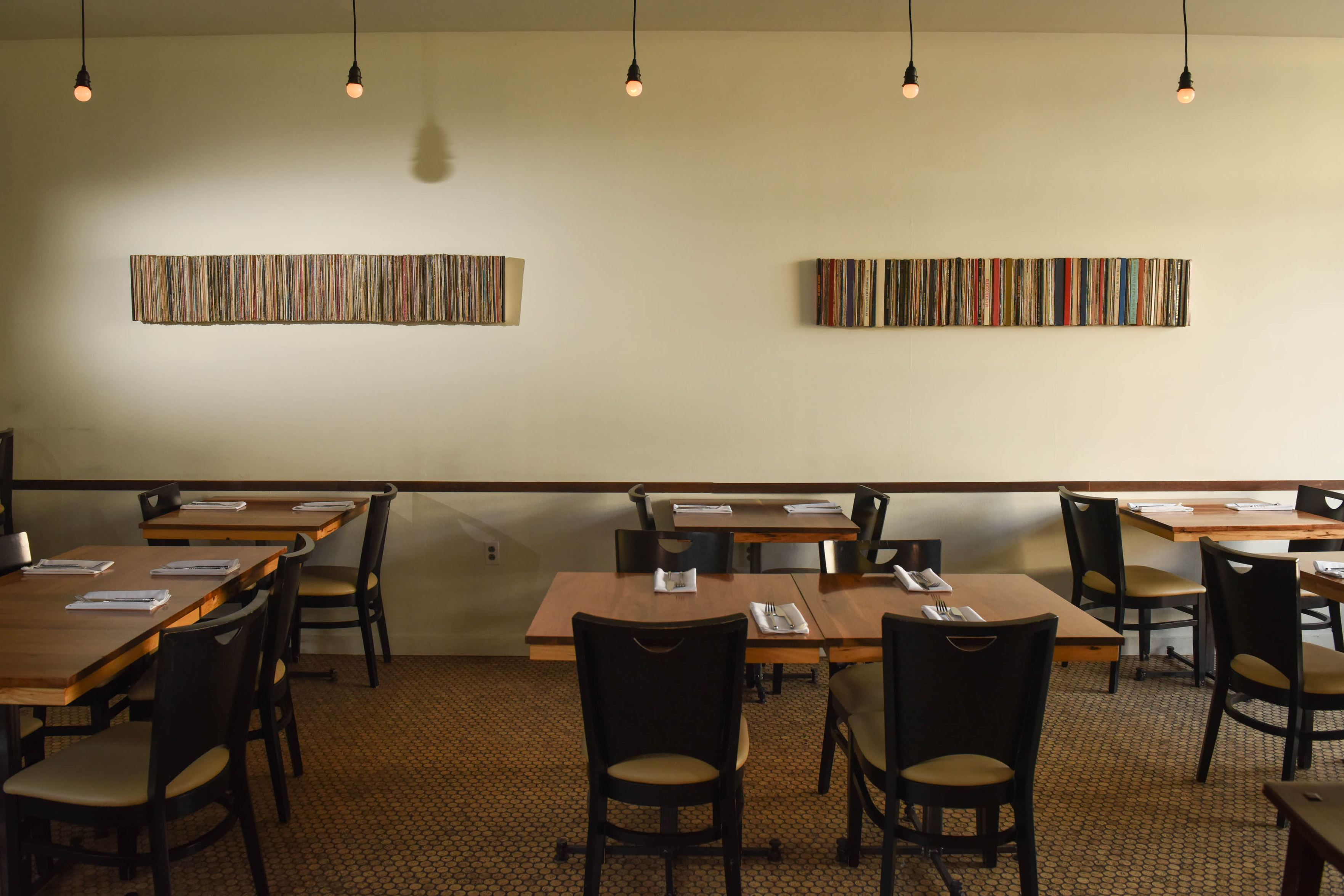 20170207smVivo-5-4 Two colorful horizontal art pieces at Vivo Kitchen in Sewickley.