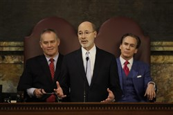 Gov. Tom Wolf delivers his budget address on Tuesday.
