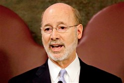 Gov. Tom Wolf delivers his budget address Tuesday for the 2017-18 fiscal year to a joint session of the Pennsylvania House and Senate in Harrisburg, Pa.