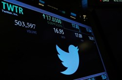 A screen displays the stock price of Twitter above the floor of the New York Stock Exchange shortly after the opening bell in New York on Jan. 31.