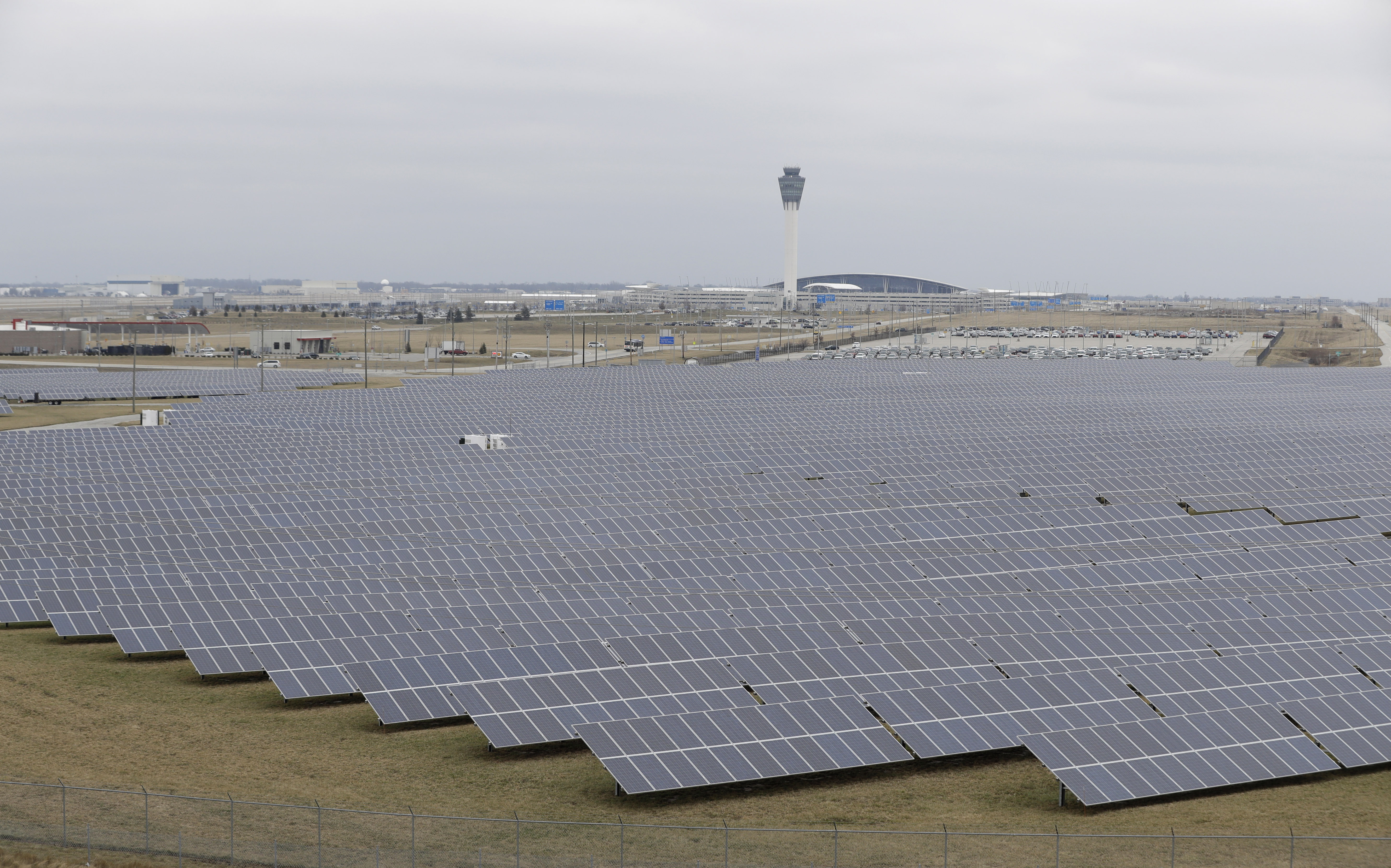 Solar Energy Indiana The solar farm at the Indianapolis International Airport is pictured, Wednesday, Feb. 8, 2017, in Indianapolis. Duke Energy and other utilities are backing measures in the Indiana Legislature and several other states that would eventually end the ability of small operators to produce solar power. (AP Photo/Darron Cummings)