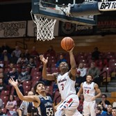 Robert Morris senior guard Kavon Stewart goes up for a shot against Mt. St. Mary's earlier this season. Stewart said the Colonials freshmen and sophomores have matured and are ready for NEC tournament play.