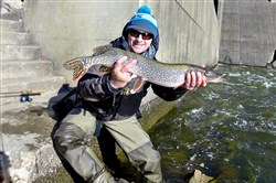 Last month Ryan Ireland of Dormont released this northern pike, caught on a jerkbait in the Allegheny River.