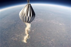 An urn covered by a paper module below a high-altitude balloon scatters a client's ashes more than 75,000 feet above Earth. Once done, the module with the urn and cameras separates from the balloon and returns by parachute.