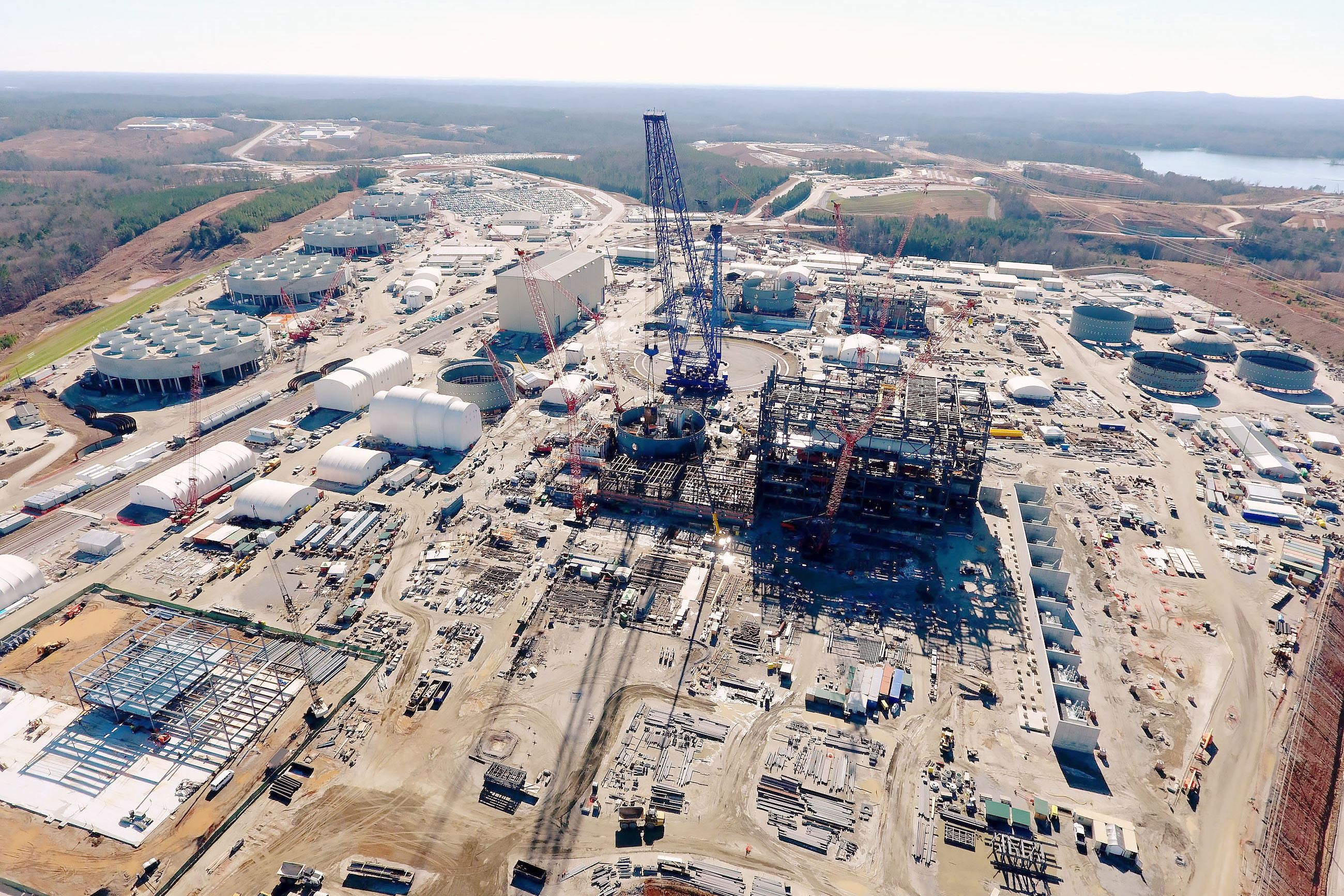 westinghouse-10 Construction at the V.C. Summer Nuclear Station in Jenkinsville, S.C. where Westinghouse Electric Co. is building two AP1000 reactors. The work is behind schedule and over budget.