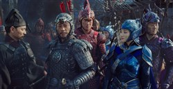 "From left, Andy Lau, Hanyu Zhang, Kenny Lin, Jing Tian and Xuan Huang in ""The Great Wall."""