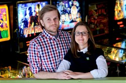 Daniel and Laura Chalich at the Kickback Pinball Cafe in Lawrenceville on Saturday.