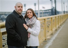 Chris Squeglia and Melissa Taggert on the Roberto Clemente Bridge on Jan. 27. The couple put a lock on the bridge near PNC Park.