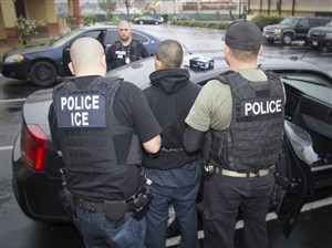 This Feb. 7 photo released by U.S. Immigration and Customs Enforcement shows foreign nationals being arrested during a targeted enforcement operation in Los Angeles.