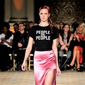 "Proceeds from the ""People are People"" shirt featured in the Christian Siriano runway show will be donated to the ACLU."