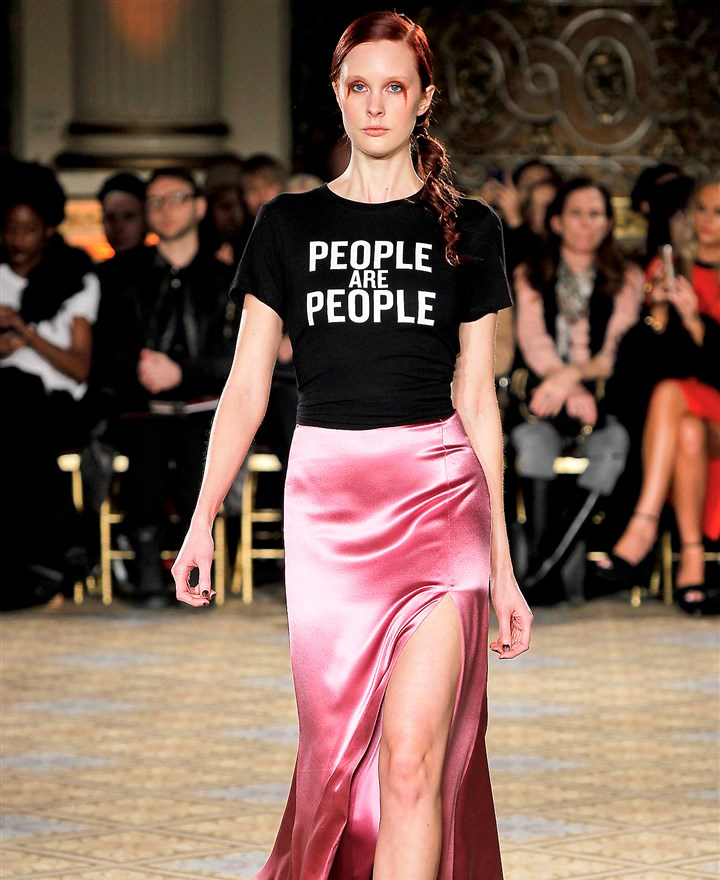 "Christian Siriano 'People are People' shirt Proceeds from the ""People are People"" shirt featured in the Christian Siriano runway show will be donated to the ACLU."