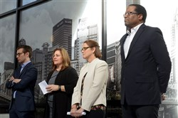 From left: Jeremy Leventhal, managing partner at Faros Properties; Diana Bucco, president of the Buhl Foundation; Lisa Birmingham, a Comcast regional vice-president; and William Generett, president and CEO of Urban Innovation 21, listen during a press conference Tuesday at Nova Place on the North Side announcing the collaboration of the four groups to drive inclusive innovation and accelerate entrepreneurship on the North Side at the former Allegheny Center.