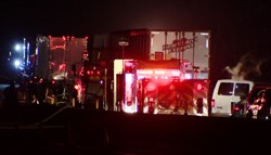 Three tractor trailers were involved in a four-vehicle chain-reaction crash on Interstate 70 in Westmoreland County overnight.