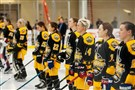Team Steadman lines up during the national anthem at the beginning of the National Women's Hockey League All-Star Game Sunday at the UPMC Lemieux Complex in Cranberry.