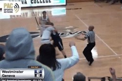 A screenshot of the fight that broke out during Wednesday's Westminster-Geneva men's basketball game.